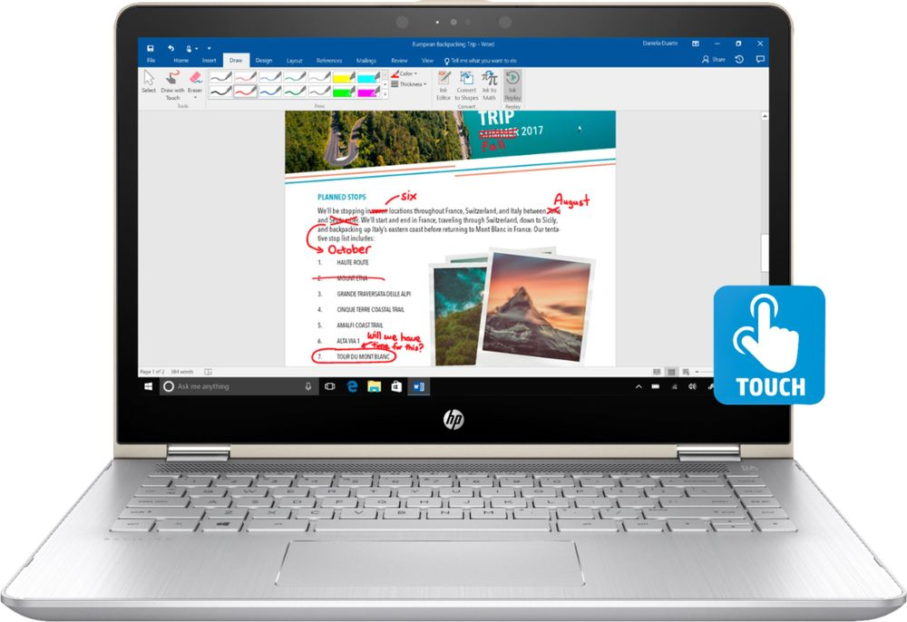 "HP Pavilion x360 2-in-1 14"" Touch-Screen Laptop Intel Core i5 8GB Memory 128GB Solid State Drive Silk Gold with Natural Silver 14M-BA114DX"