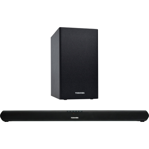Toshiba - 2.1-Channel Soundbar System with Wireless Subwoofer and Digital Amplifier - Black