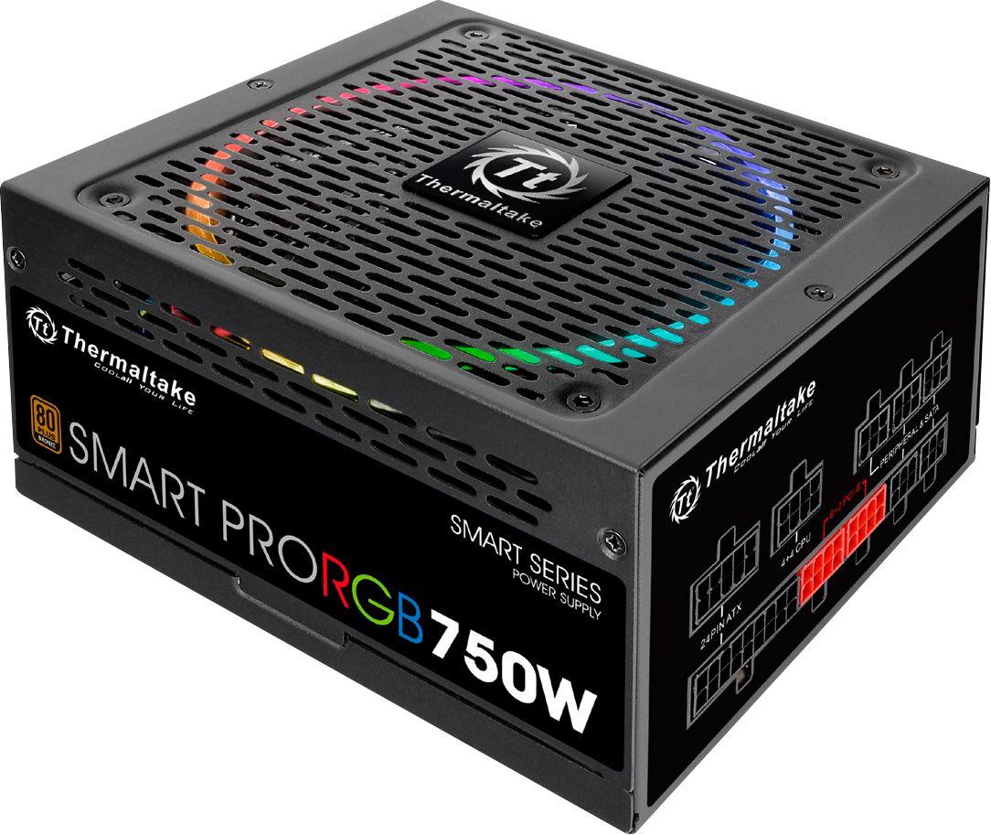Thermaltake SMART PRO RGB 750W ATX12V 2.4/EPS12V 2.92 Modular Power Supply Black PS-SPR-0750FPCBUS-R