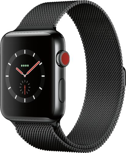 Apple - Apple Watch Series 3 (GPS + Cellular), 42mm Space Black Stainless Steel Case with Space Black Milanese Loop - Space Black Stainless Steel (Unlocked)