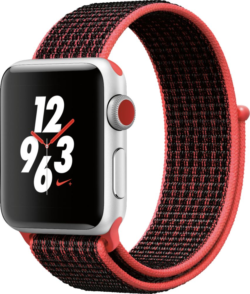 Apple - Apple Watch Nike+ Series 3 (GPS + Cellular), 38mm Silver Aluminum  Case with Bright Crimson/Black Nike Sport Loop - Silver Aluminum (AT&T)