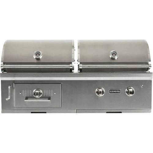 Coyote - 50  Natural Gas/Charcoal Hybrid Grill - Stainless Steel 1200 sq. in. cooking area; stainless steel grates; 40,000 BTU 2-burner gas grill; electronic ignition system; interior grill lighting; integrated wind guard; adjustable dampers for controlling air flow