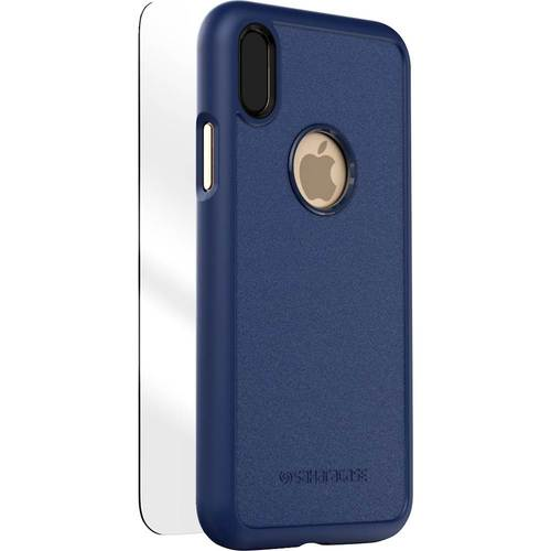 SaharaCase - dBulk Case with Glass Screen Protector for Apple iPhone X - Navy 6110350