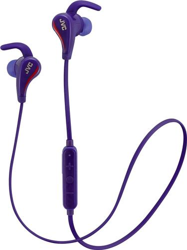 jvc blue and red wireless water resistant pivot motion sport headphone with locking ear fit ha-et50bta