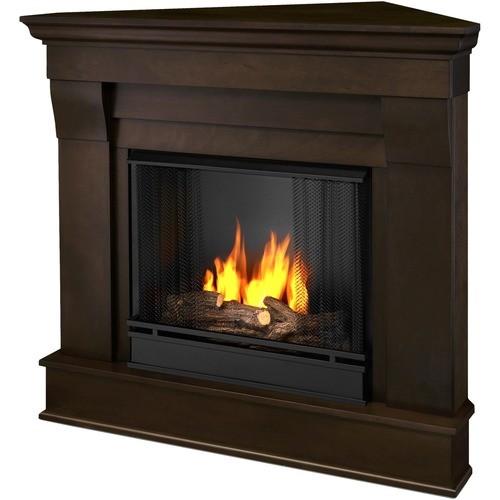 Real Flame Chateau Corner Gel Fireplace Indoor Usage Heating Capacity 2.64 kW Dark Walnut 5950