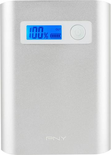 PNY - PowerPack AD10400 10,400 mAh Portable Charger for Most USB-Enabled Devices - Silver 6140802
