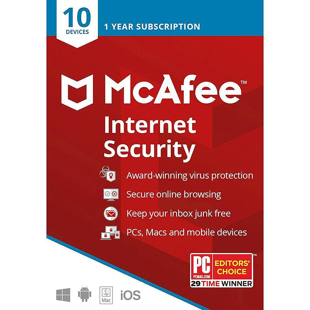 McAfee Internet Security Plus (10 Devices) (1-Year Subscription) Android|Mac|Windows|iOS MCA950800F005