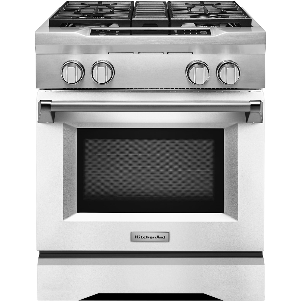 KitchenAid 4.1 Cu. Ft. Self-Cleaning Freestanding Dual Fuel Convection Range Imperial White KDRS407VMW