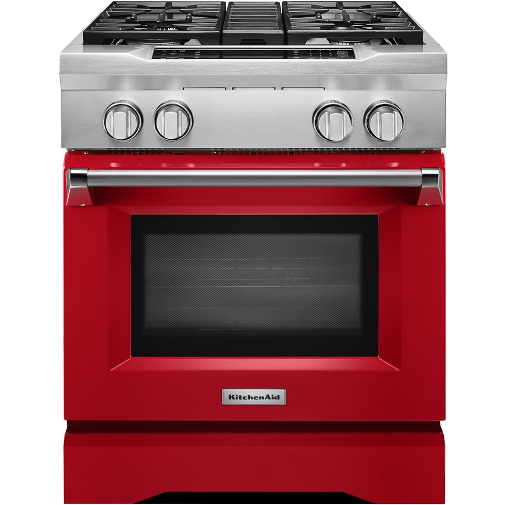 KitchenAid 4.1 Cu. Ft. Self-Cleaning Freestanding Dual Fuel Convection Range Signature Red KDRS407VSD