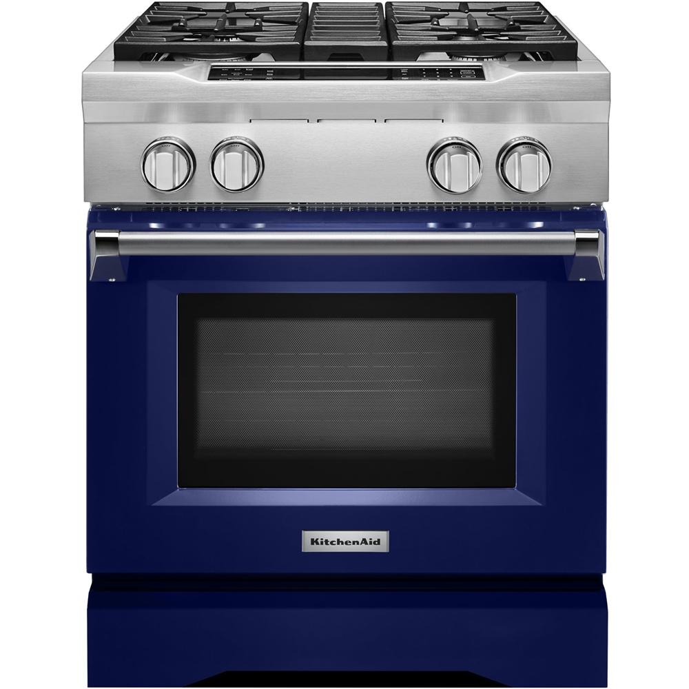 KitchenAid   4.1 Cu. Ft. Self Cleaning Freestanding Dual Fuel Convection  Range   Cobalt Blue