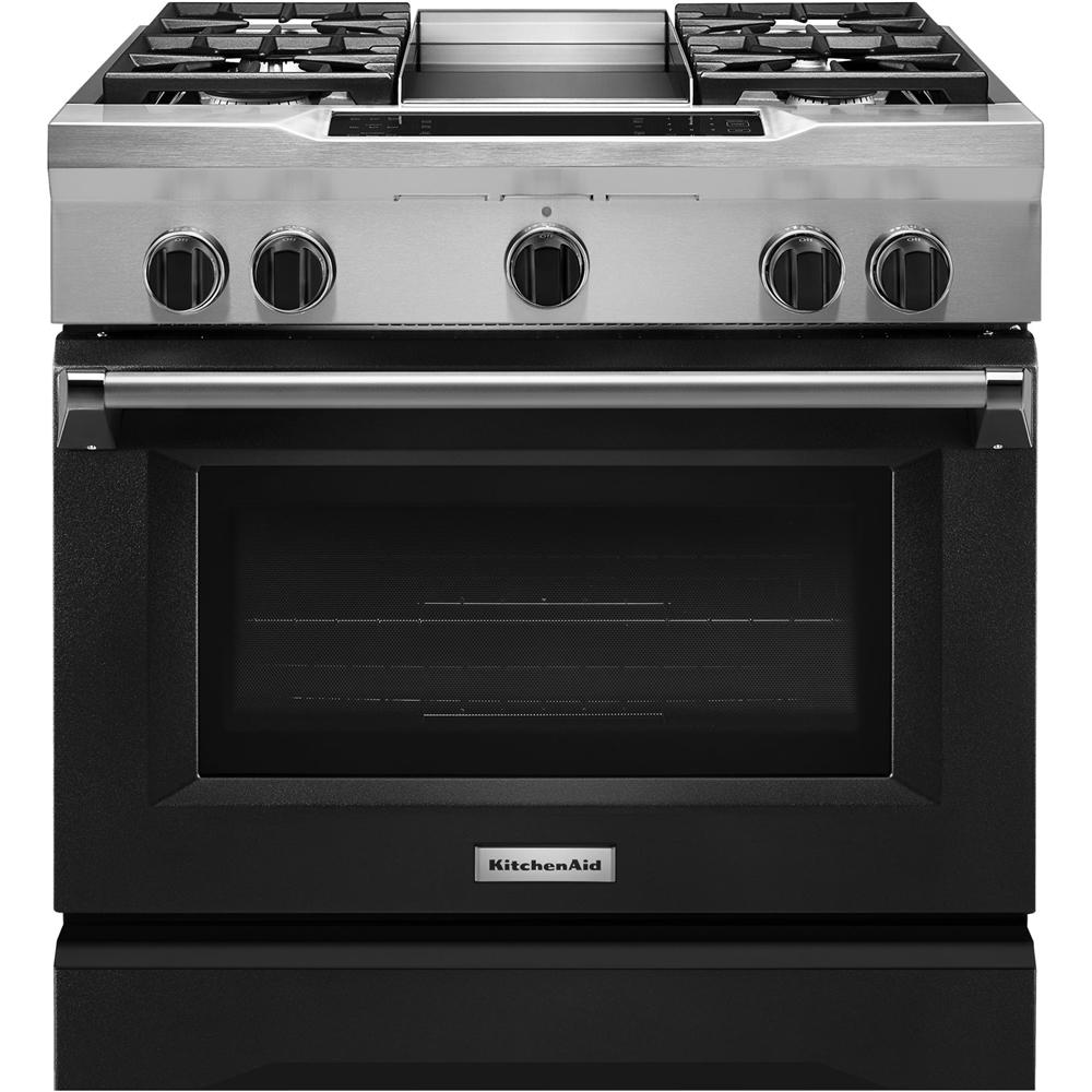 KitchenAid 5.1 Cu. Ft. Self-Cleaning Freestanding Dual Fuel Convection Range Imperial Black KDRS463VBK