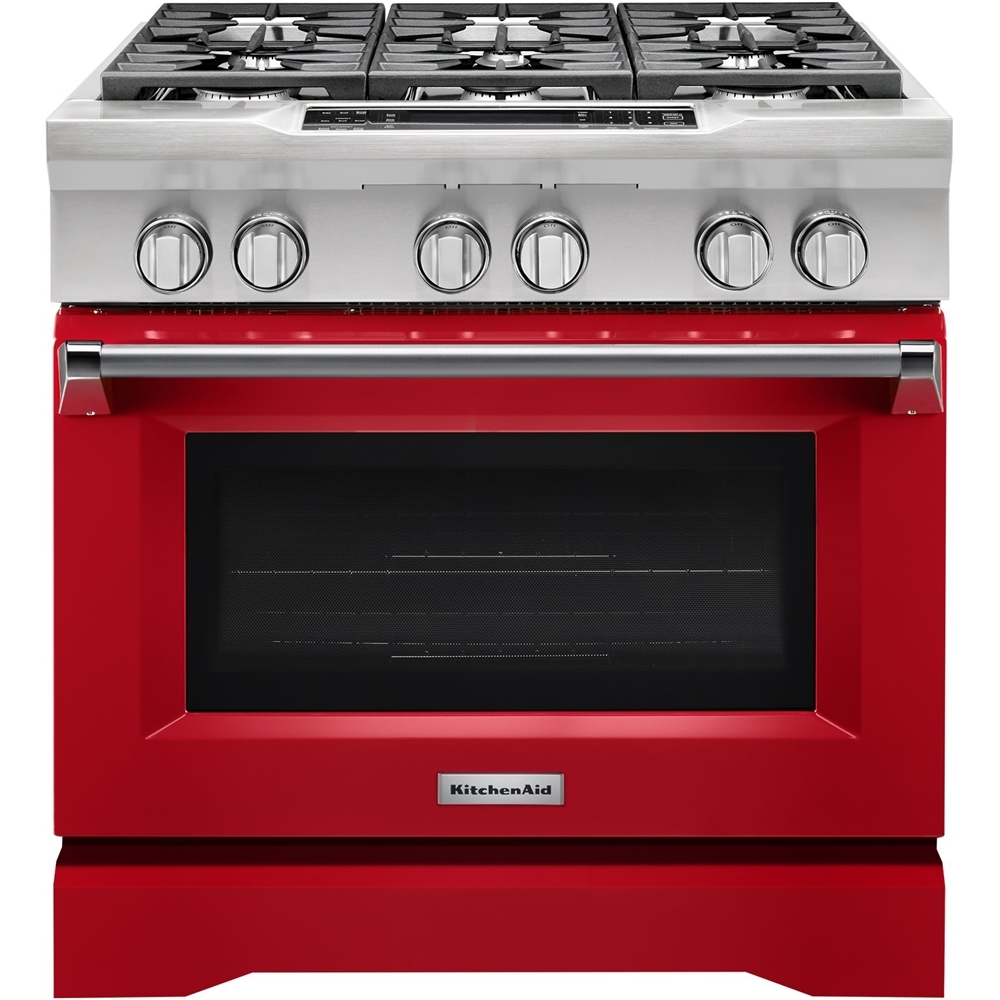 KitchenAid 5.1 Cu. Ft. Self-Cleaning Freestanding Dual Fuel Convection Range Signature Red KDRS467VSD