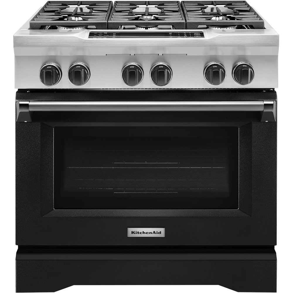 KitchenAid 5.1 Cu. Ft. Self-Cleaning Freestanding Dual Fuel Convection Range Imperial Black KDRS467VBK