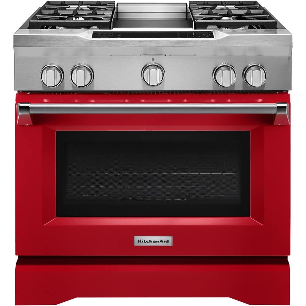 KitchenAid 5.1 Cu. Ft. Self-Cleaning Freestanding Dual Fuel Convection Range Signature Red KDRS463VSD