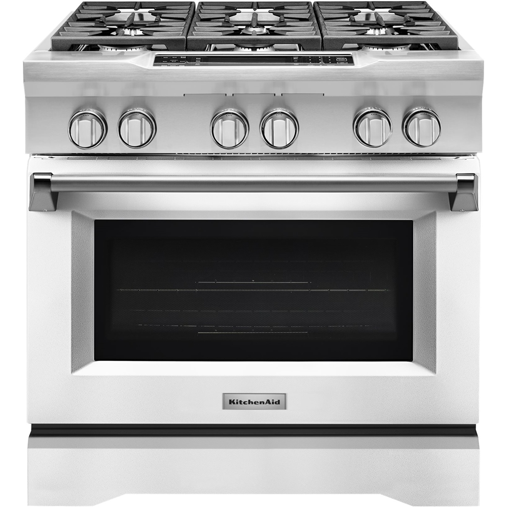 KitchenAid 5.1 Cu. Ft. Self-Cleaning Freestanding Dual Fuel Convection Range Imperial White KDRS467VMW