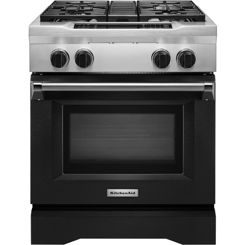 KitchenAid 4.1 Cu. Ft. Self-Cleaning Freestanding Dual Fuel Convection Range Imperial Black KDRS407VBK