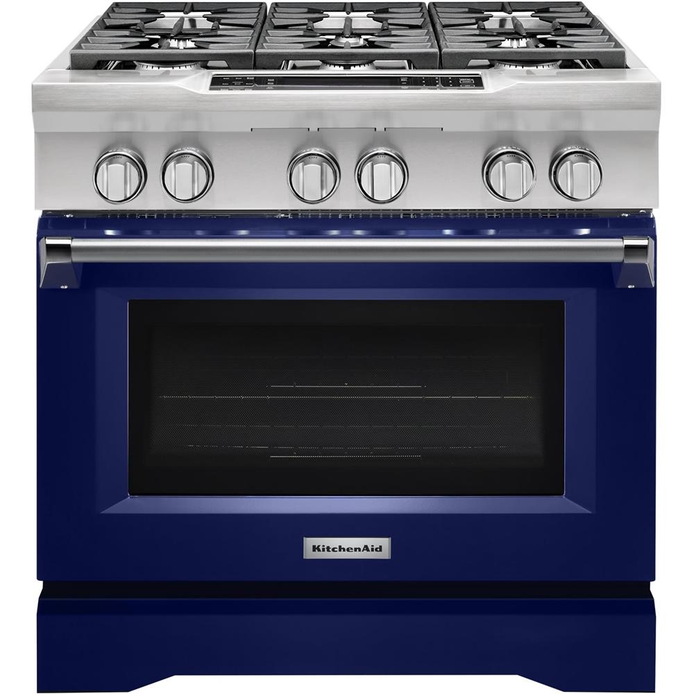 KitchenAid 5.1 Cu. Ft. Self-Cleaning Freestanding Dual Fuel Convection Range Cobalt Blue KDRS467VBU