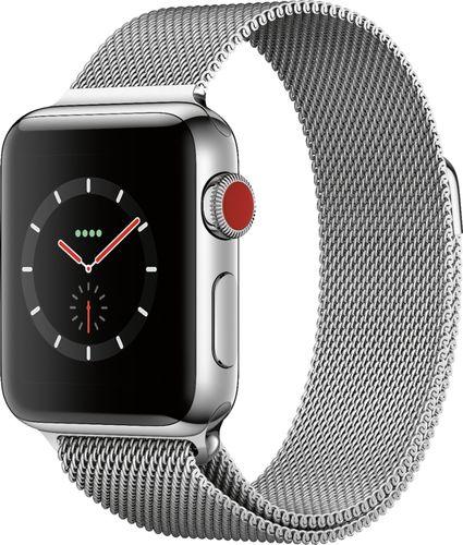 Apple - Refurbished Apple Watch Series 3 (GPS + Cellular), 38mm Stainless Steel Case with Milanese Loop - Stainless Steel