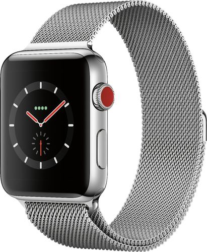 Apple - Refurbished Apple Watch Series 3 (GPS + Cellular), 42mm Stainless Steel Case with Milanese Loop - Stainless Steel
