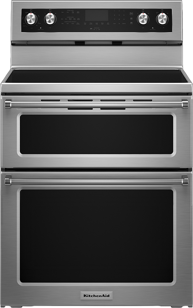 """KitchenAid 30"""" Self-Cleaning Freestanding Double Oven Electric Convection Range Stainless Steel KFED500ESS"""
