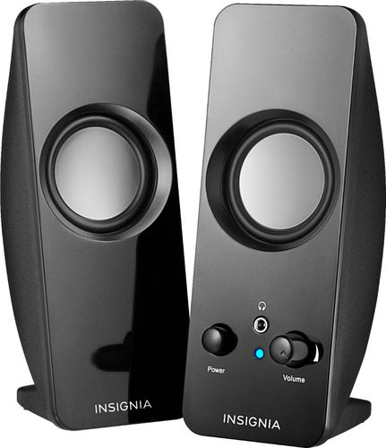 Insignia™ - Speakers - Black Compatible with most computers; power adapter included