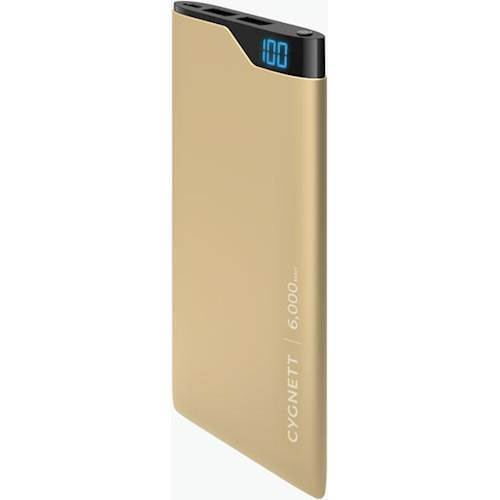 Cygnett - ChargeUp Digital 6000 mAh Portable Charger for Most USB-Enabled Devices - Gold Metallic 6177848