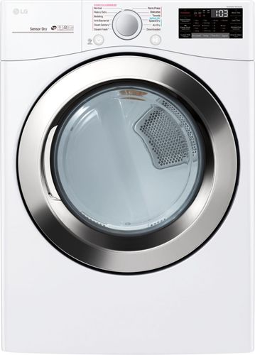 LG Electronics 7.4 cu.ft. Ultra Large Capacity Gas Dryer with Sensor Dry Turbo Steam and Wi-Fi Connectivity in White