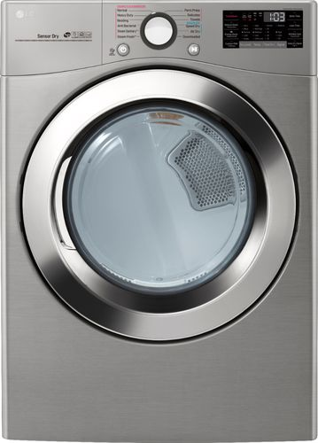 LG Electronics 7.4 cu.ft. Ultra Large Capacity Gas Dryer with Sensor Dry Turbo Steam and Wi-Fi Connectivity in Graphite Steel