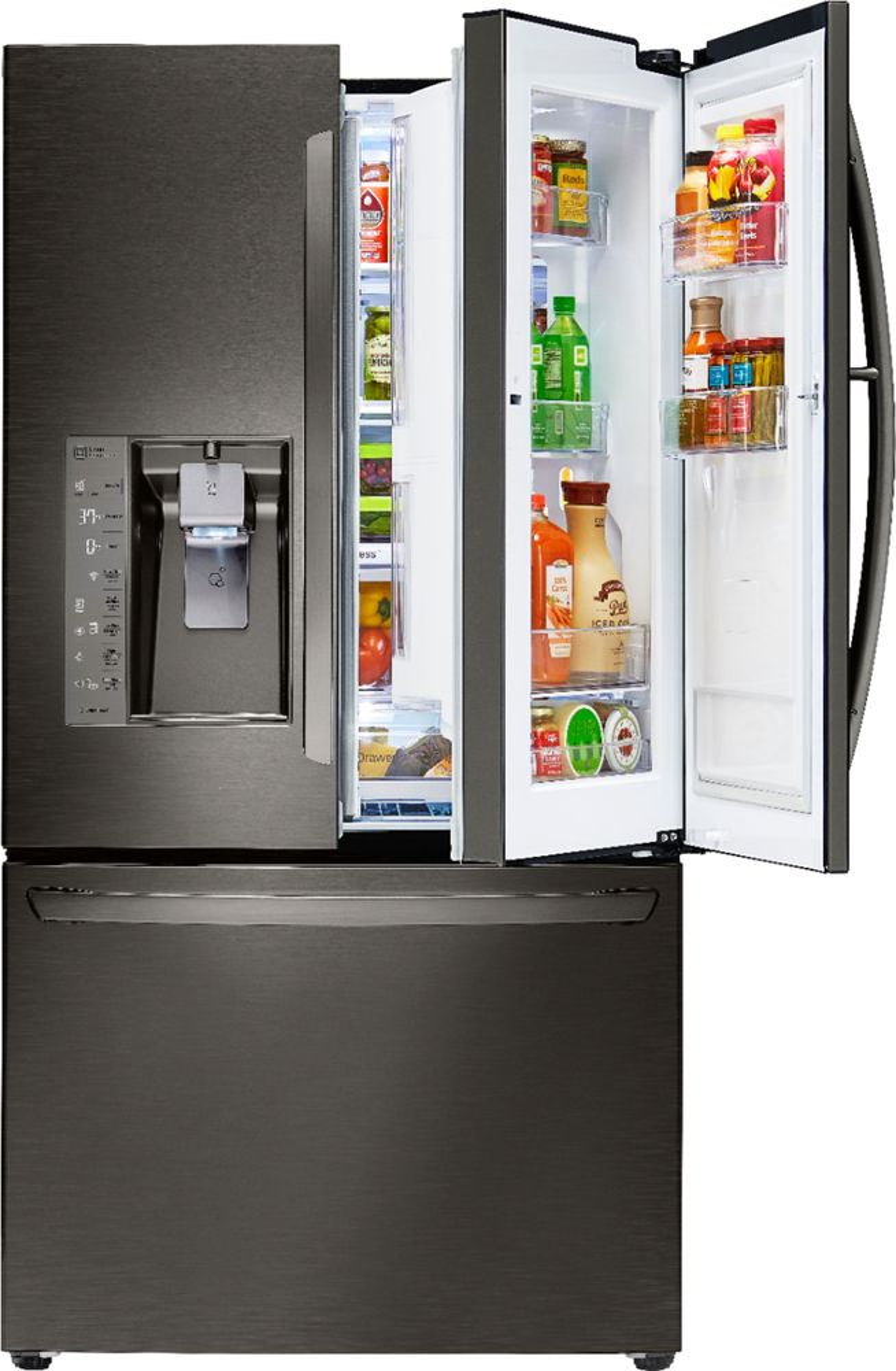 LG - 29.6 Cu. Ft. Door-in-Door French Door Refrigerator - Black stainless steel largeFrontImage