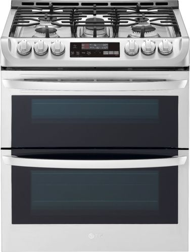 LG - 6.9 Cu. Ft. Self-Cleaning Slide-In Double Oven Gas Convection Range - Stainless steel