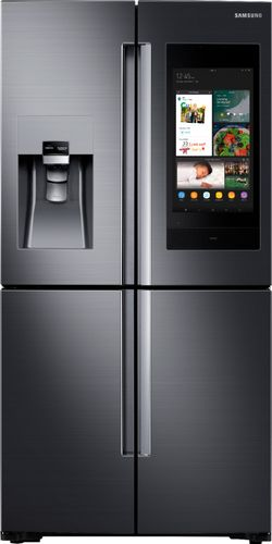 Samsung 22 cu. ft. Family Hub 4-Door FrenchDoor Smart Refrigerator in Fingerprint Resistant Black Stainless, Counter Depth