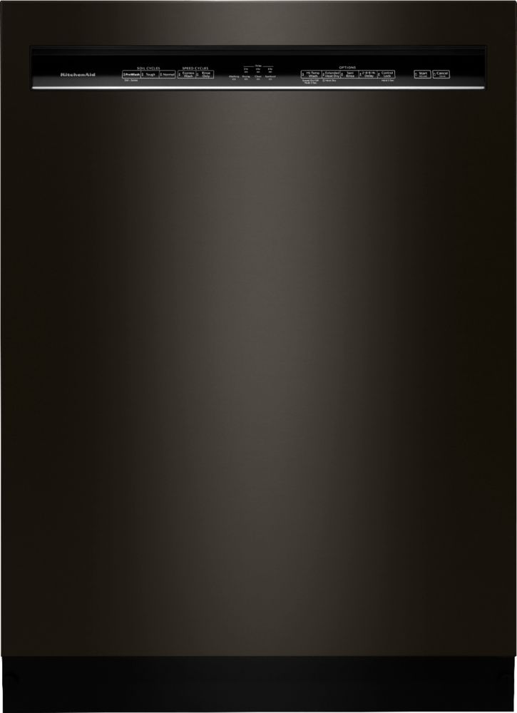 """KitchenAid 24"""" Front Control Tall Tub Built-In Dishwasher with Stainless Steel Tub Black stainless steel KDFE104HBS"""