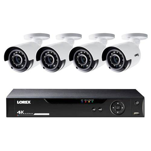 Lorex - 8-Channel, 4-Camera Indoor/Outdoor Wired 4K 1TB DVR Security System