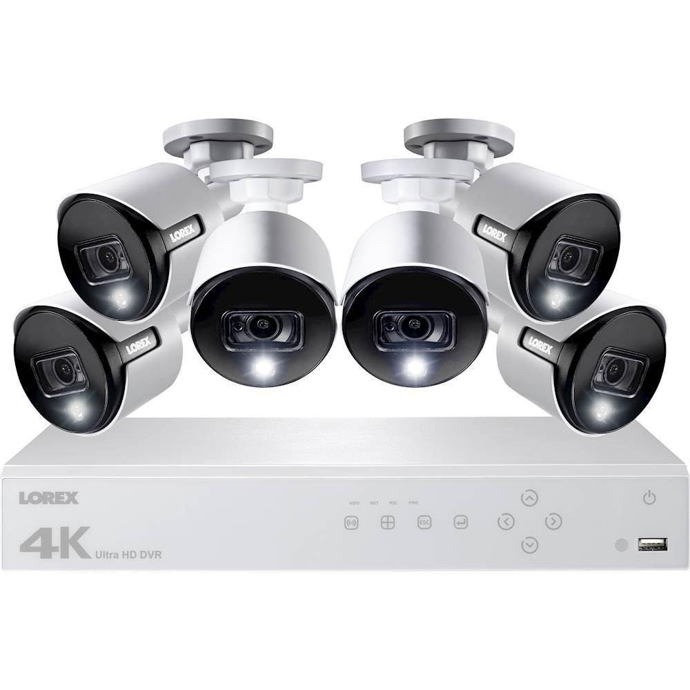 Lorex 8-Channel, 6-Camera Indoor/Outdoor Wired 4K 2TB DVR Surveillance System White LHV51082T6KXW