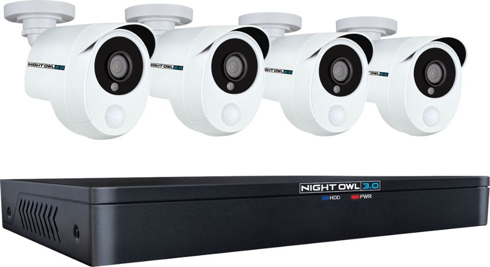 Night Owl Extreme HD 8-Channel, 4-Camera Wired 1TB DVR Surveillance System Black/White XHD301-84P