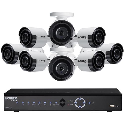 Lorex - 8-Channel, 8-Camera Indoor/Outdoor Wired 4K 2TB NVR Surveillance System - Black/White