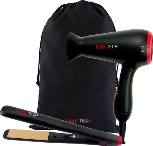 CHI TECH - GF8511 2 Piece Travel Set Ceramic Hair Dryer - Red/Black GF8511