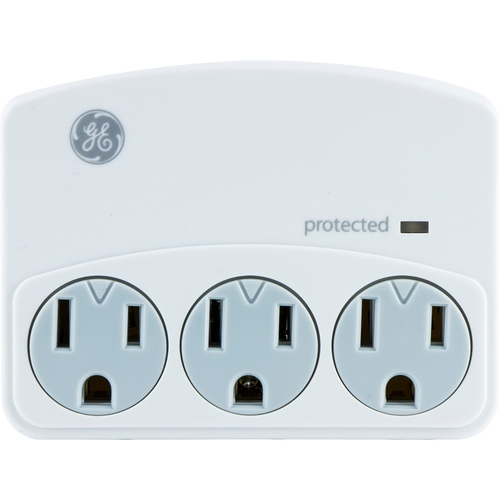 GE 3-Outlet Surge Protector Wall Adapter, Safety Covers, 35122