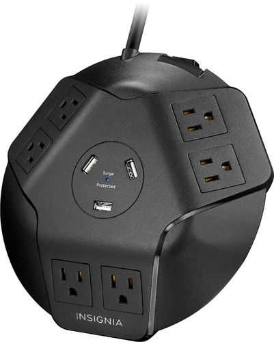 Insignia™ - 6-Outlet/3-USB Surge Protector - Black