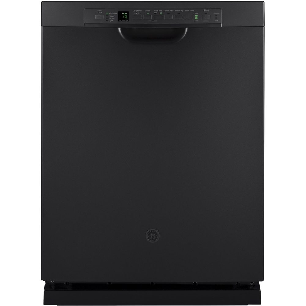 "GE 24"" Front Control Tall Tub Built-In Dishwasher with Stainless Steel Tub Black Slate GDF650SFJDS"