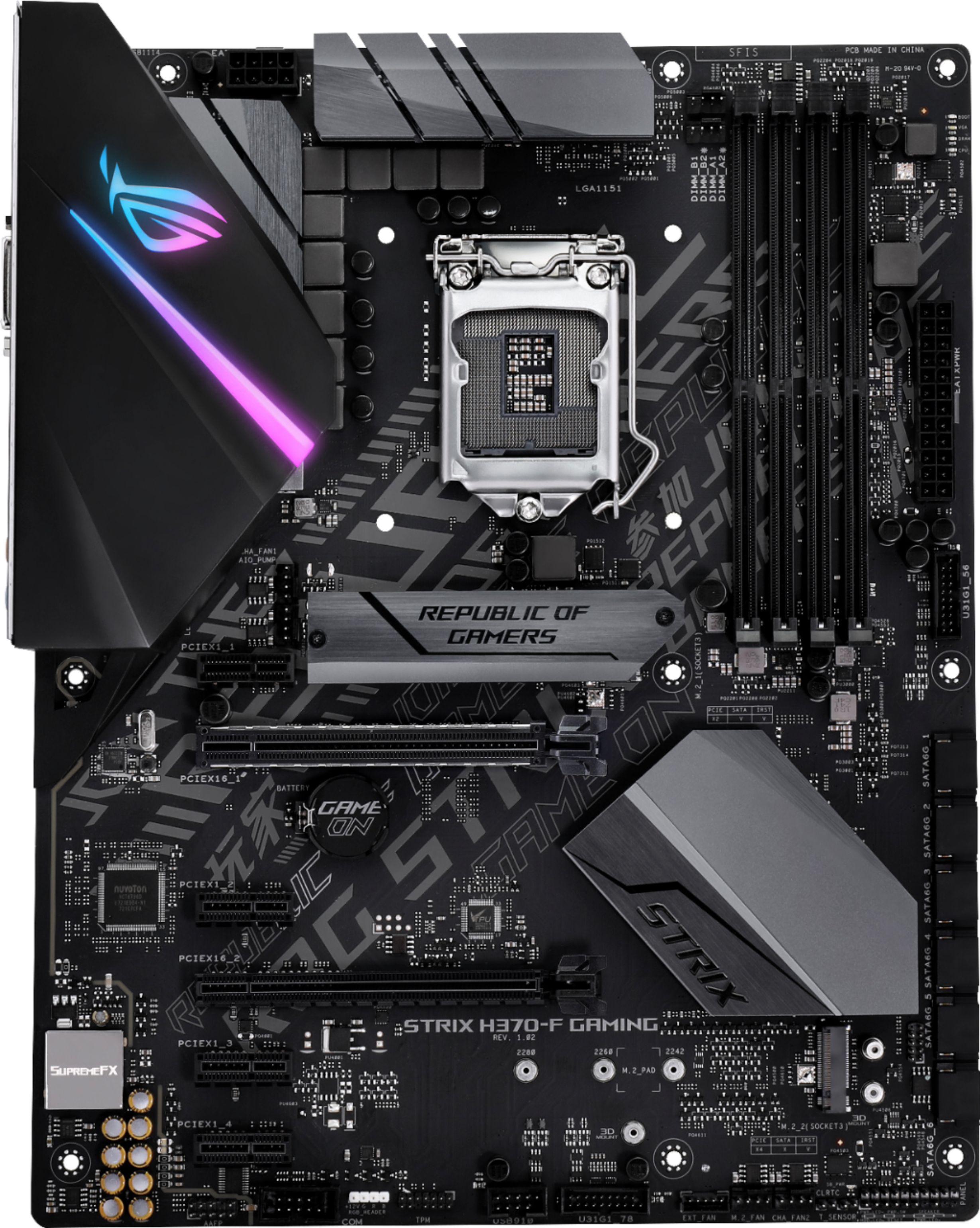 Asus ROG STRIX H370-F GAMING (Socket LGA1151) USB 3.1 Gen 1 Intel Motherboard with LED Lighting STRIX H370-F GAMING
