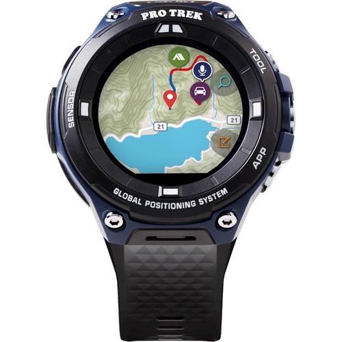 Casio Mens Pro Trek WSD-F20A Sports Smart Watch (Black and Indigo Blue)