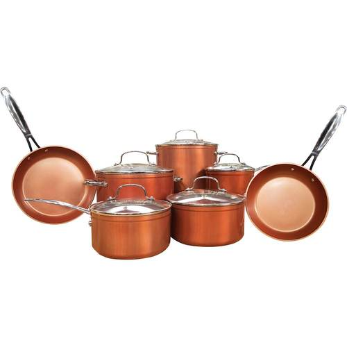 NuWave - 12-Piece Forged Cookware Set - Copper 12-piece cookware set includes 5 pans with lids and 2 frying pans; made from forged aluminum with healthy Duralon ceramic nonstick coating; ergonomic stainless steel handle; induction-ready and safe for use with gas and electric ovens; dishwasher-safe