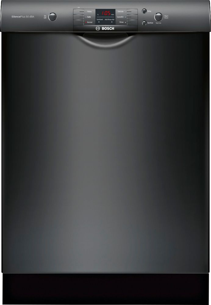 "Bosch 24"" Front Control Built-In Dishwasher with Stainless Steel Tub Black SHEM3AY56N"