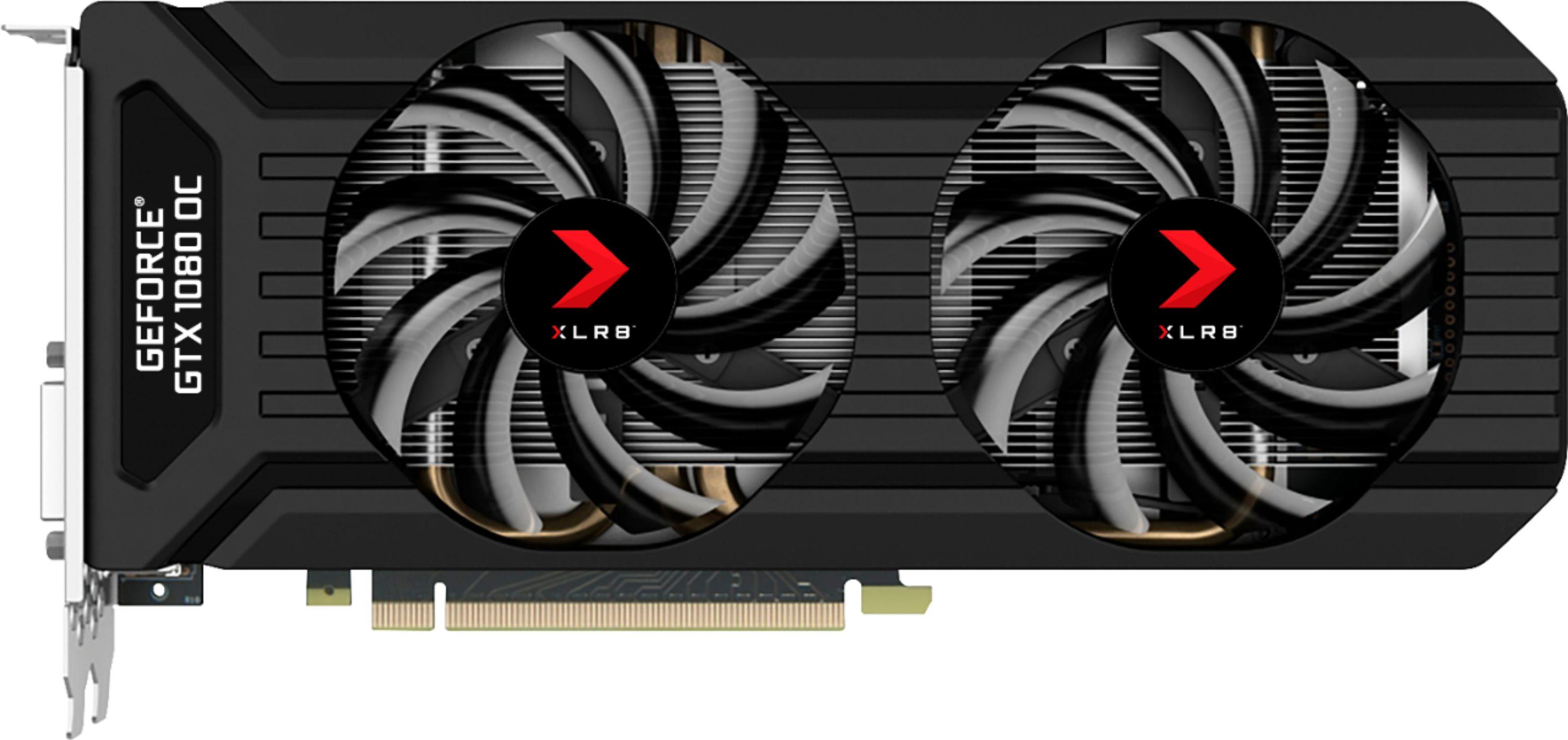 PNY NVIDIA GeForce GTX 1080 XLR8 OC GAMING Edition 8GB GDDR5X PCI Express 3.0 Graphics Card Black VCGGTX10808XGPB-OC-BB