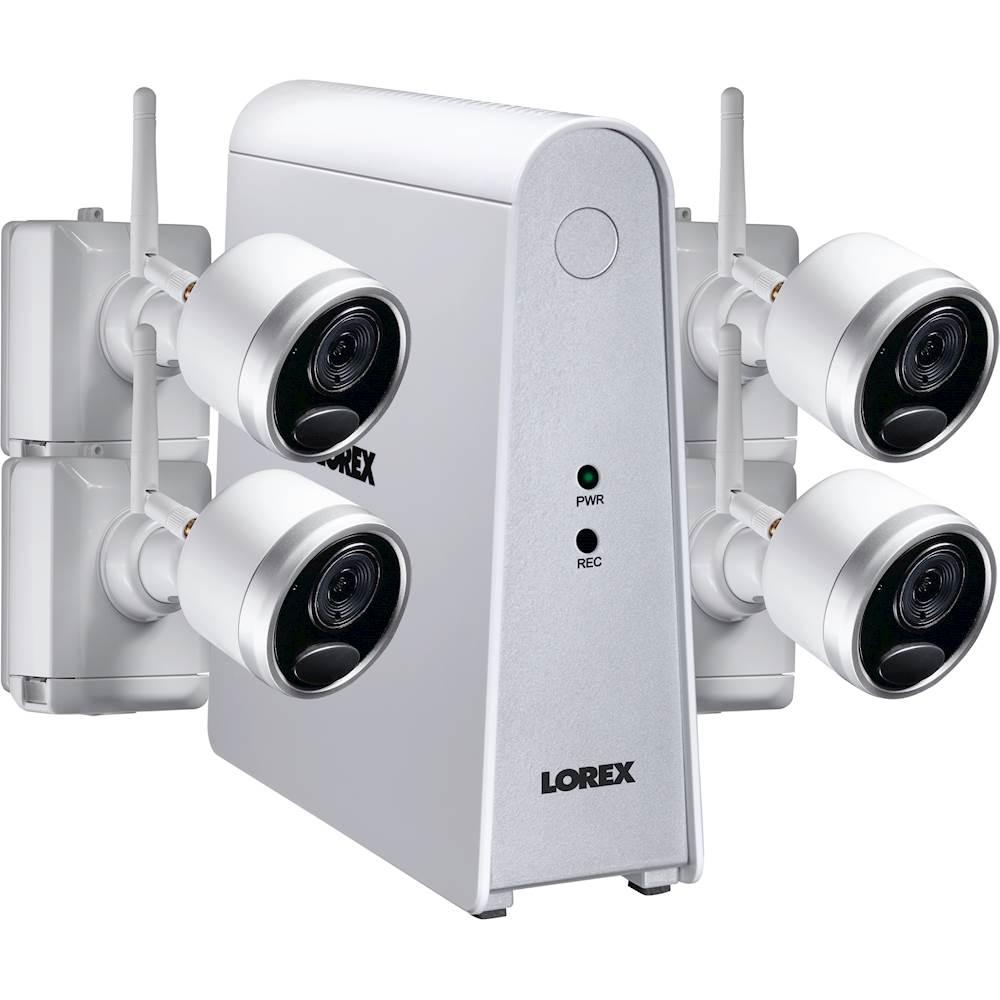 Lorex 6-Channel, 4-Camera Indoor/Outdoor Wire Free 1080p 1TB DVR Surveillance System White LHWF16T1C4