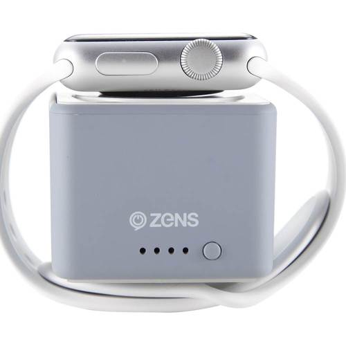 ZENS - 1300mAh Portable Charger for Most Qi-Enabled Apple© Devices - Gray Crafted for wireless charging of compatible Apple Watch models; 1300 mAh battery capacity; Apple MFi certified; can charge Qi-enabled compatible devices wirelessly; small size