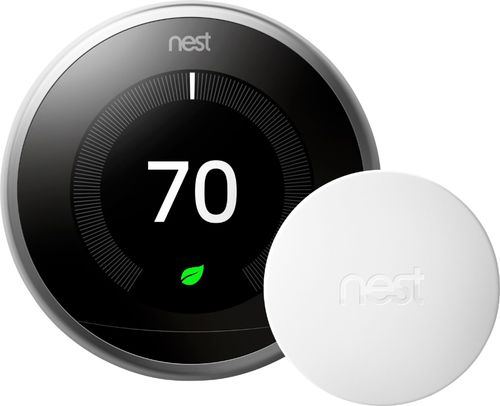 Nest - 3rd Generation Learning Programmable Wi-Fi Thermostat with Temperature Sensor - Stainless Steel