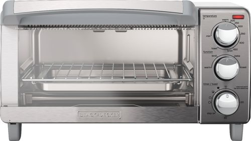 Black & Decker - 4-Slice Toaster Oven - Stainless Steel Bake, toast, broil and keep warm functions; integrated timer