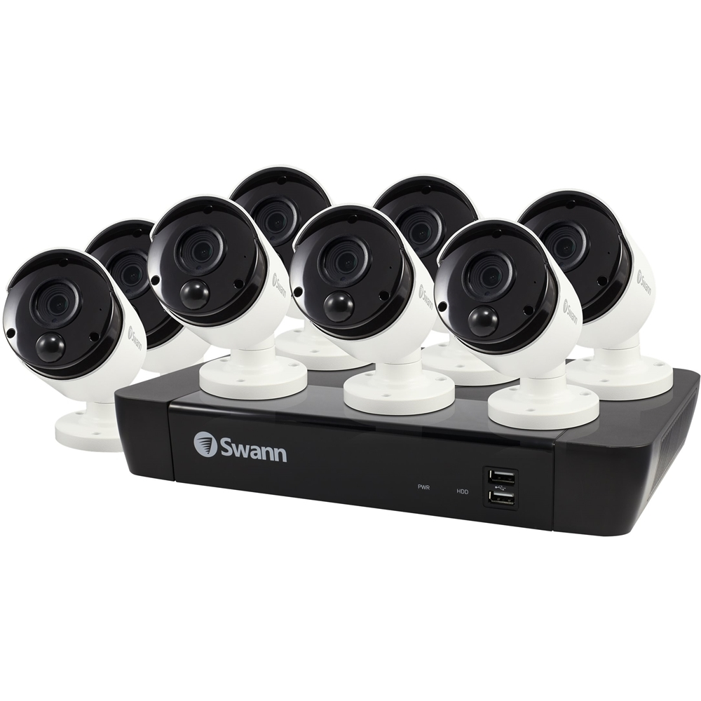 Swann SWNVK-885808-US 8-Channel, 8-Camera Indoor/Outdoor Wired 2160p 2TB NVR Surveillance System Black/White
